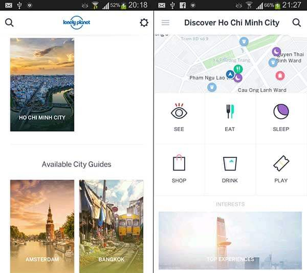 screenshot van de Guides app van Lonely Planet
